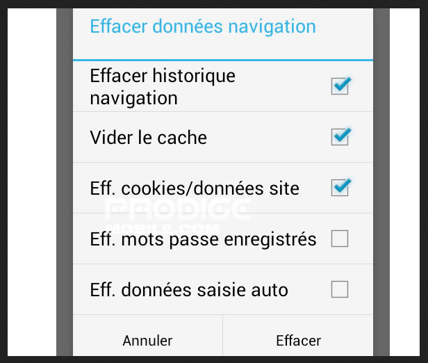 Effacer -historique-android
